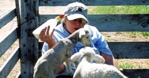 2006, poss, Mary feeding lambs