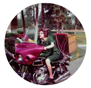Mom on John Stasneys motorcycle.